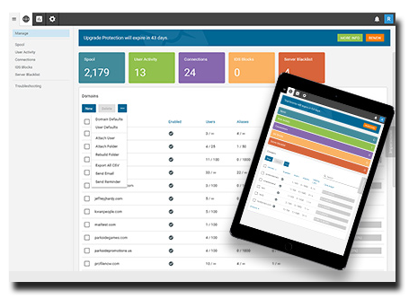 SmarterMail's simple powerful admin interface