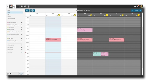 Smartermail Calendar showing light and dark themes